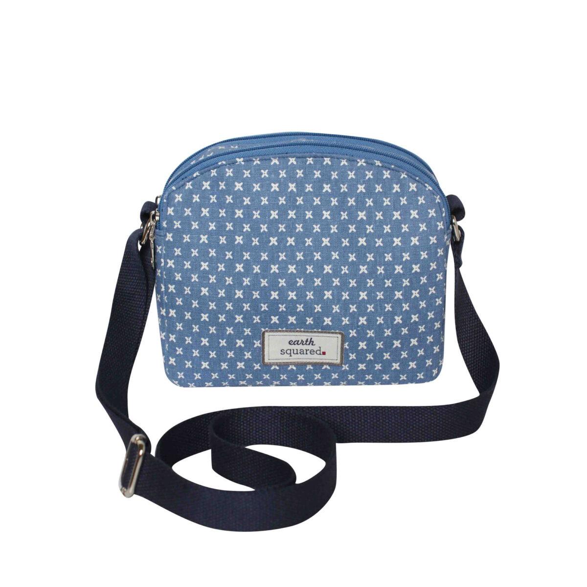 Blue/White Spring Linen Half Moon Bag
