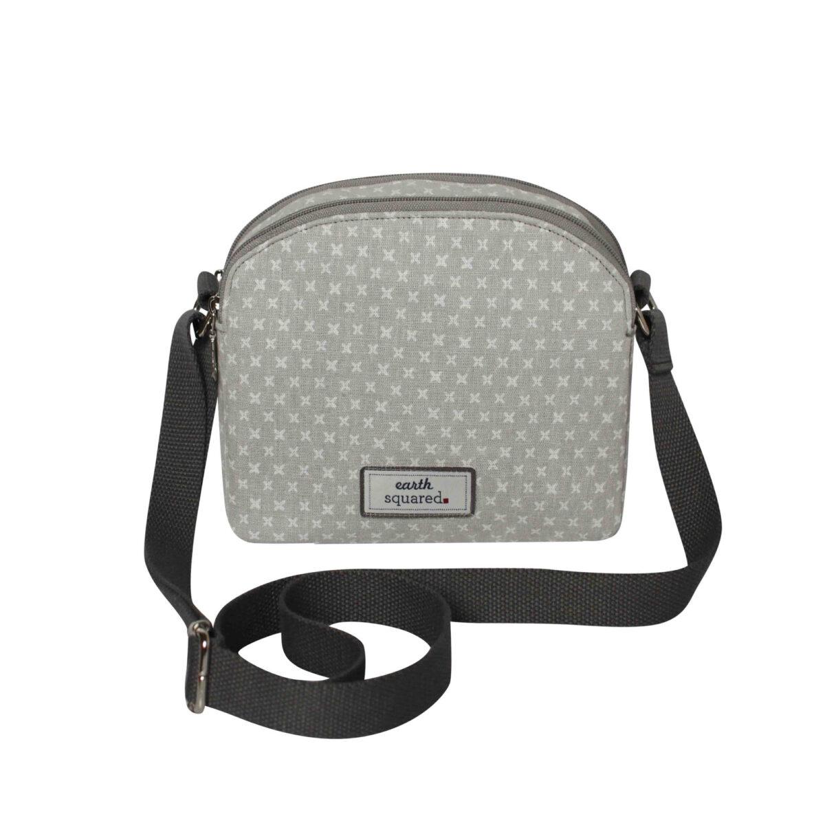 Grey/White Spring Linen Half Moon Bag