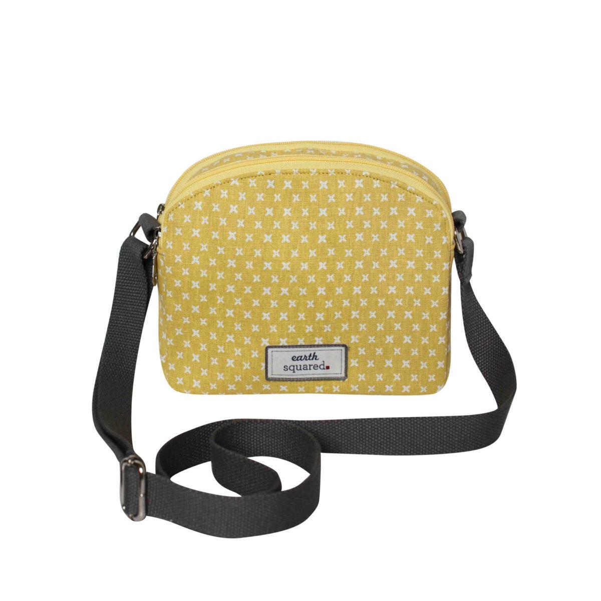 Yellow/White Spring Linen Half Moon Bag