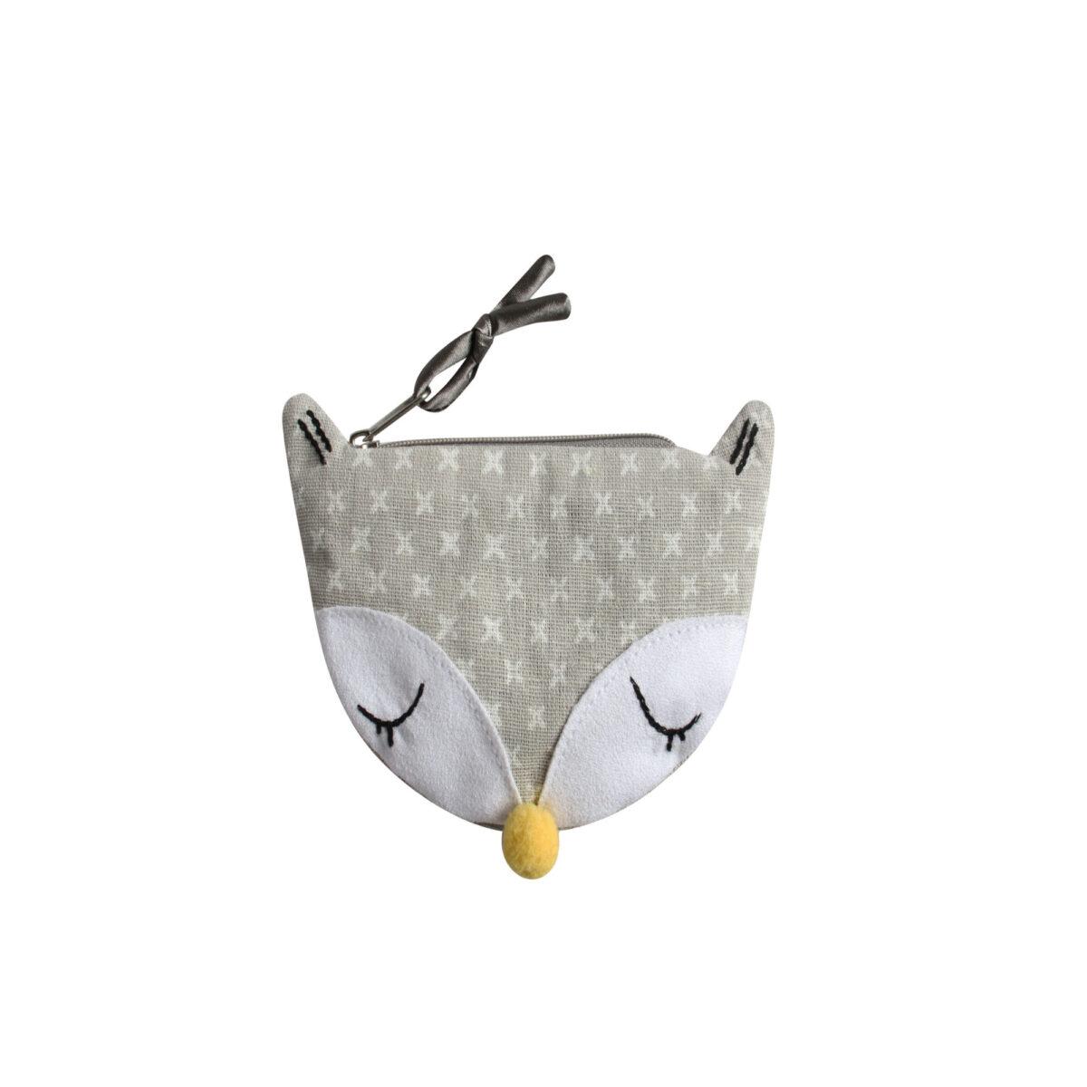 Grey/White Spring Linen Animal Purse