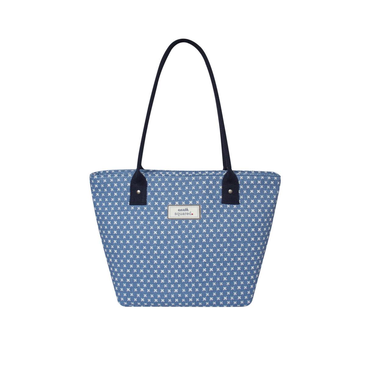 Blue/White Spring Linen Tote Bag