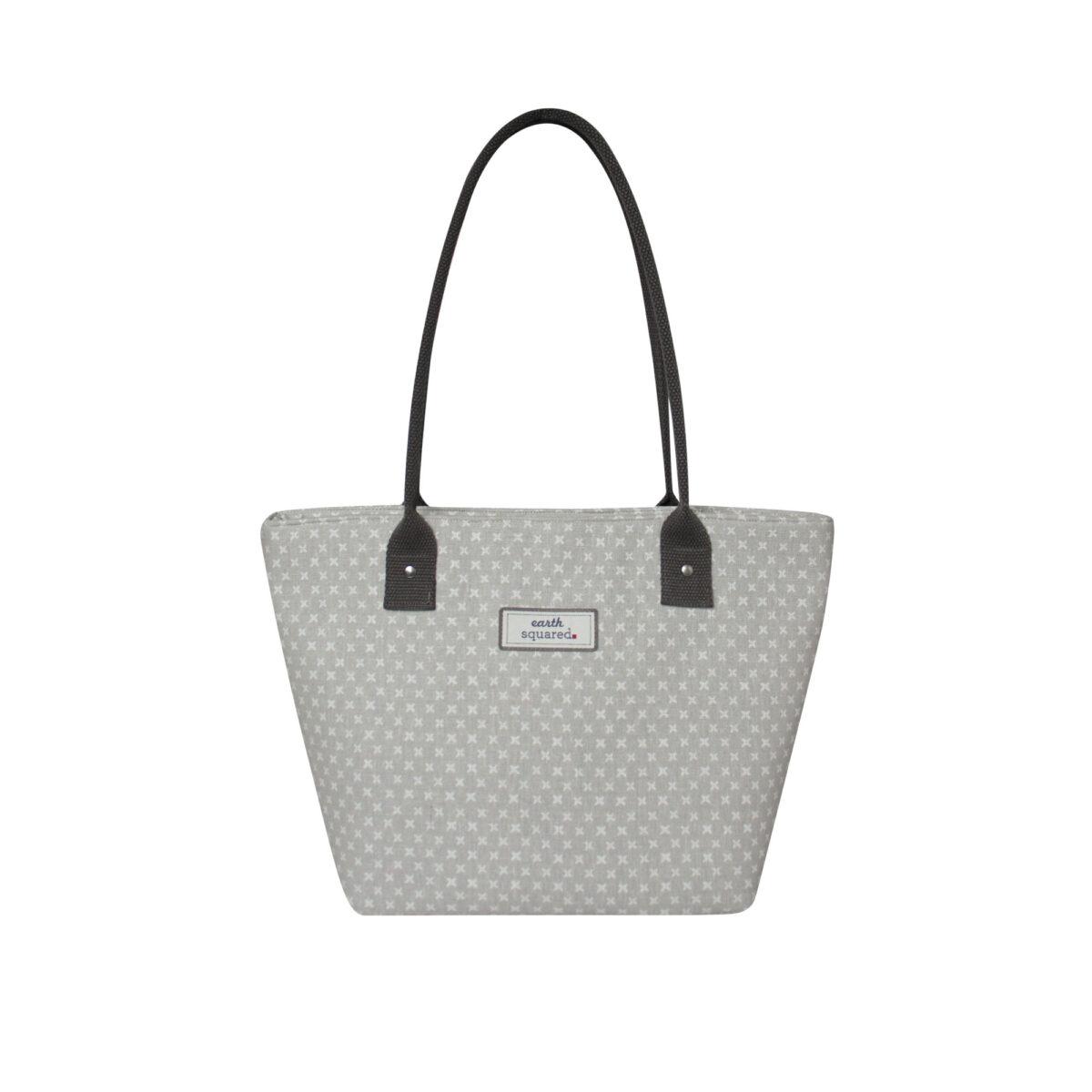 Grey/White Spring Linen Tote Bag