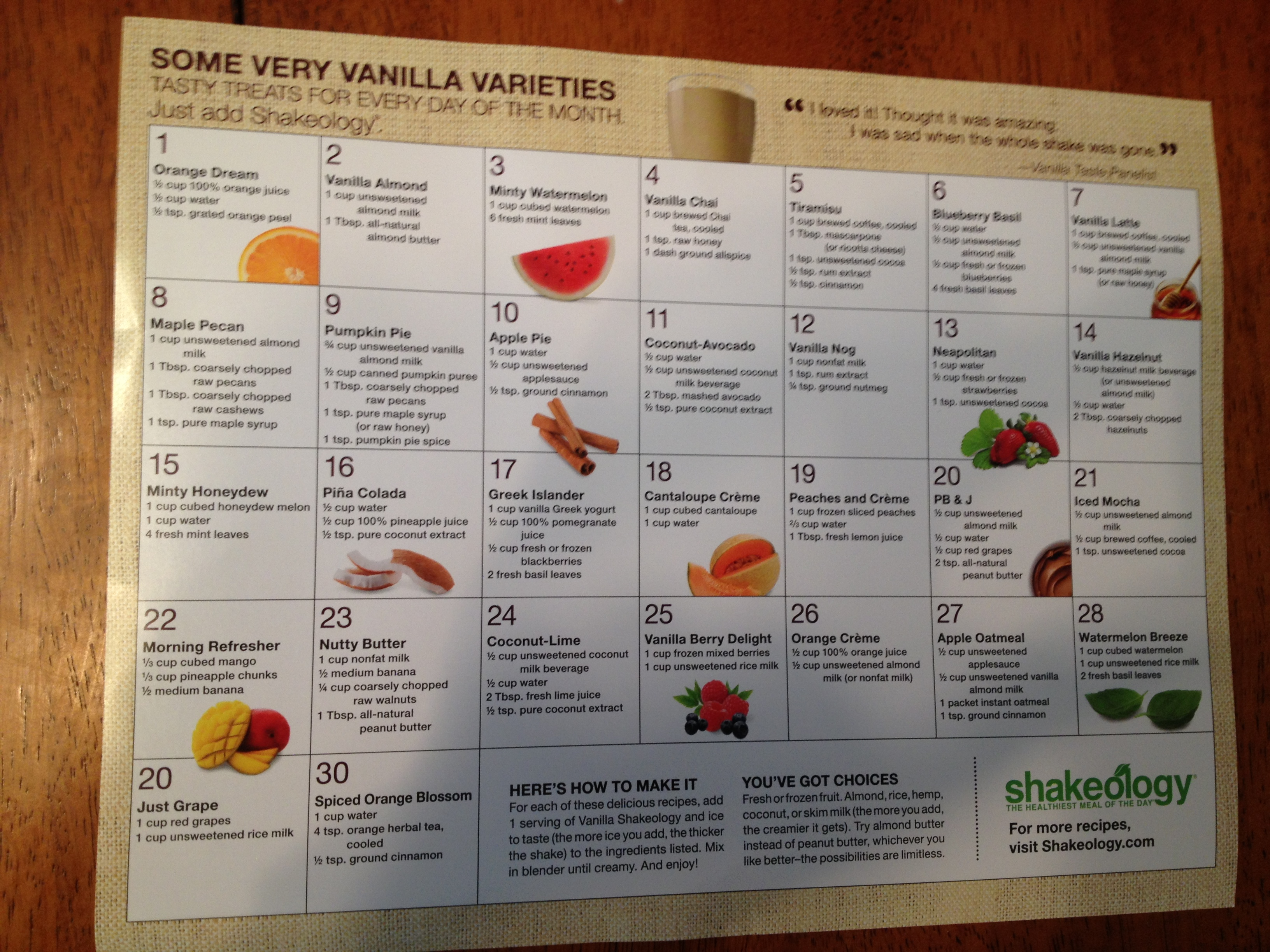 Vanilla Shakeology Recipes
