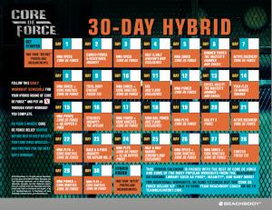Hybrid core de force calendar, hybrid beachbody calendar, calendar hybrid beachbody
