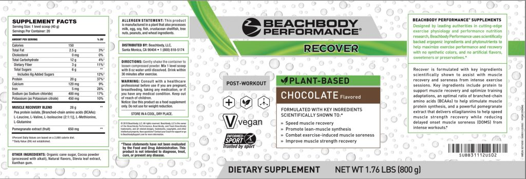 based recover nutrition label USA