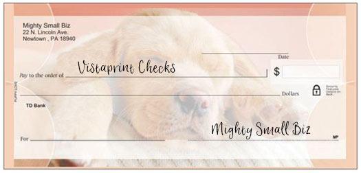 vistaprint checks design puppy