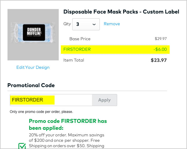 disposable mask coupon applied