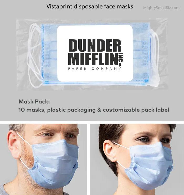 vistaprint custom logo disposable face masks