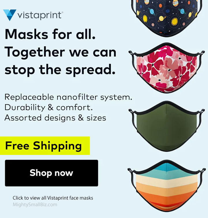 vistaprint face masks promo free shipping
