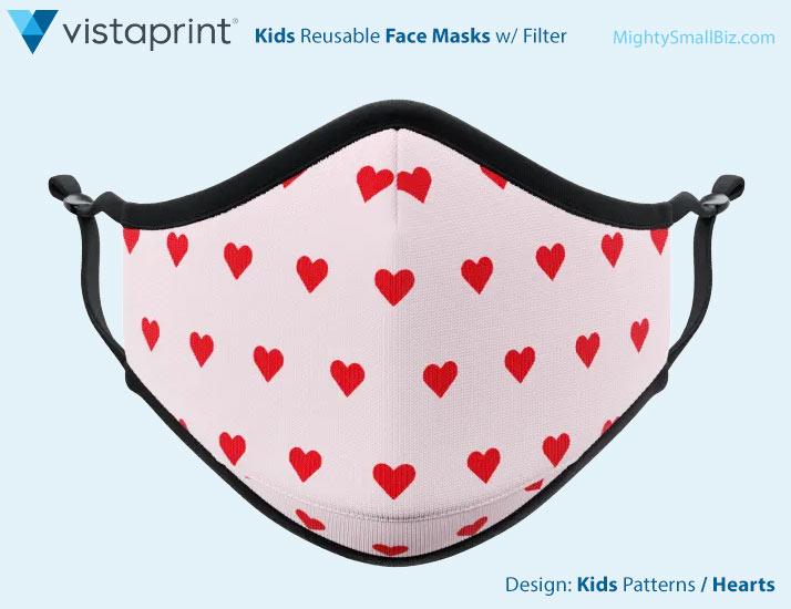 vistaprint facemasks kids hearts design