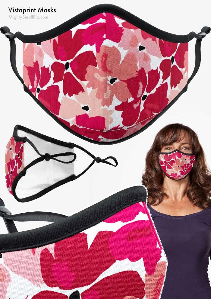 vistaprint face mask covering floral pattern