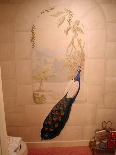 Old World - Mural of a Peacock with stone window mural