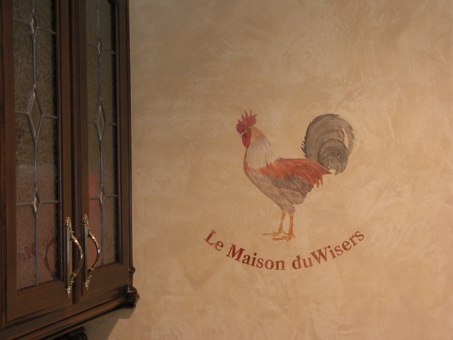 Old World - Rooster on Venetian Plaster Texture