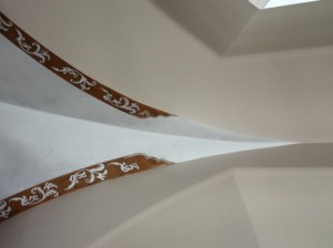 Old World - Medallion and colorwash on Vaulted Ceiling (close-up)