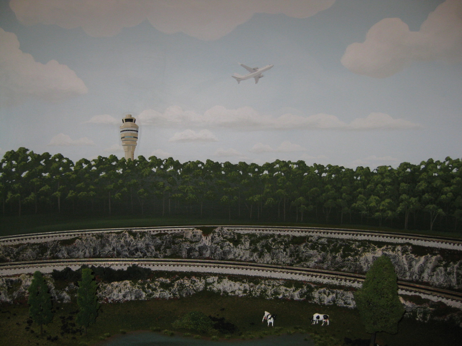 Train Backdrop - Trees and airport