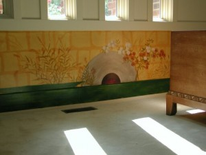 Old World Mural of 13 century Japaneses screen