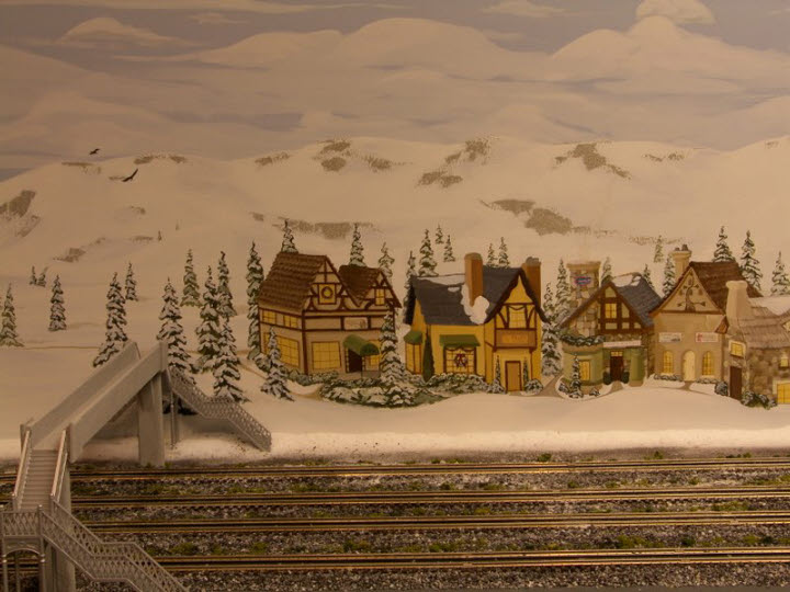 Train Backdrop - Snow covered mountains and winter city
