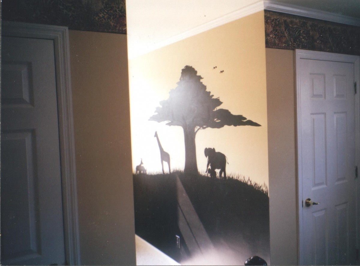 Kids Mural - silhouette of African  animals