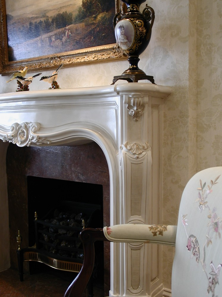 Fireplace aged with Glaze and highlighted with Metallic Gold Rub