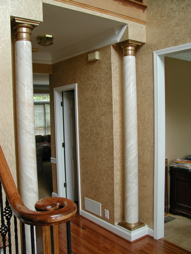 Faux Marble Columns with Metallic Gold Capitals