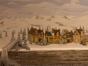 Train Background Mural of Snow and Mountains