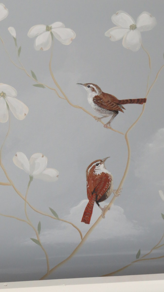 Old World Mural of Dogwoods and Wrens
