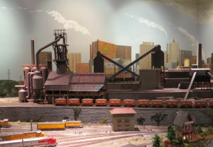Train Background of Industrial City