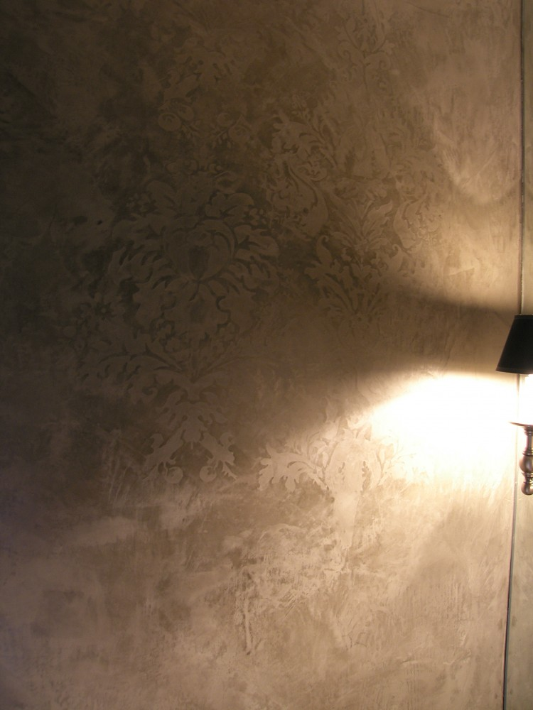 Texture - Venetian Plaster with embedded Damask design.