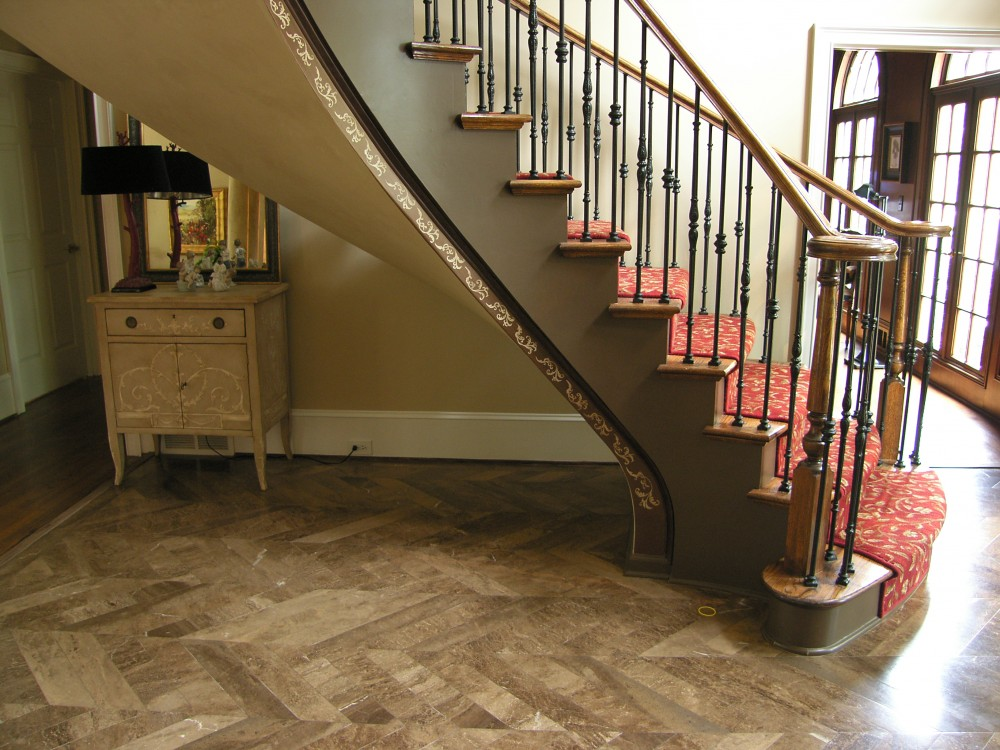 Metallic Bronze staircase with Accent Mural on edge