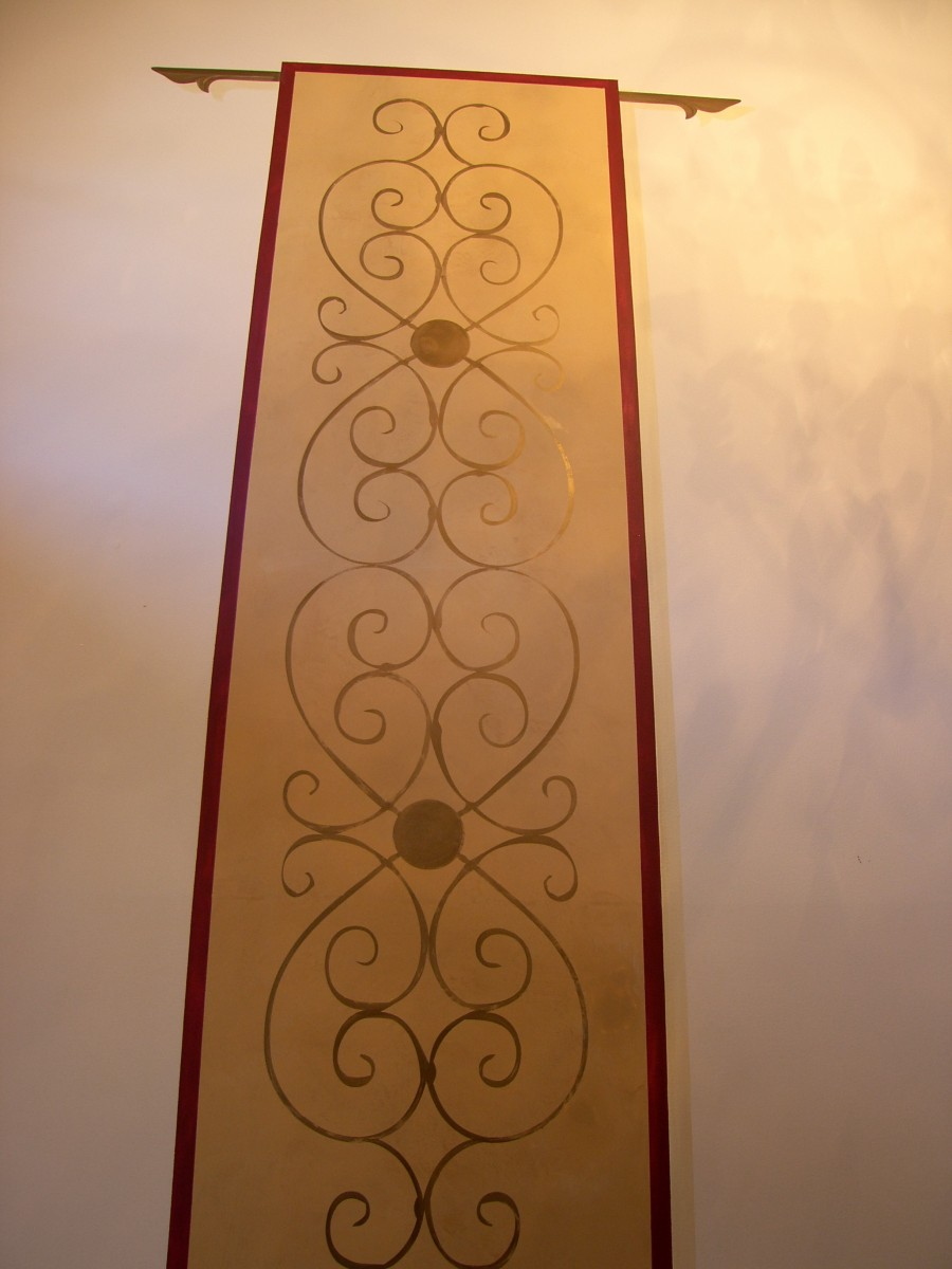 Accent Mural - Scroll work Tapestry for Foyer