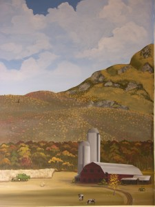 Train Mural of Mountains and Farm