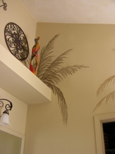 Accent Mural of Palms in Bathroom