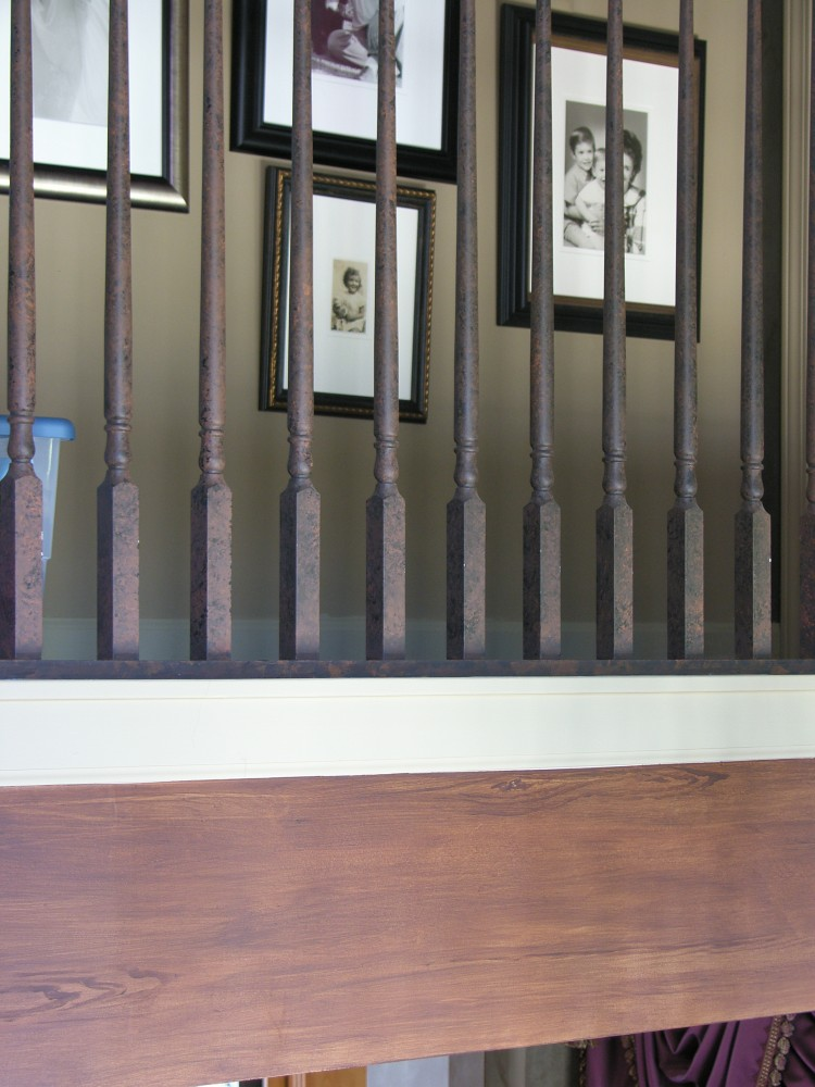 Aged spindles with Faux wood beam