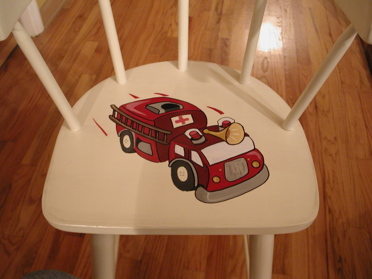 Kid Accent Mural of a Firetruck on a Seat