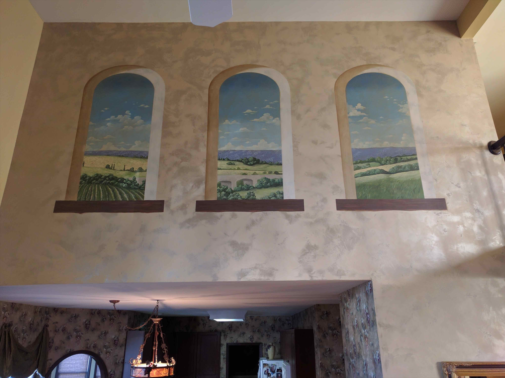 Tuscan mural with Lusterstone background
