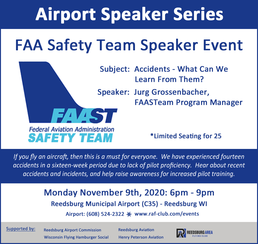 FAASTeam Safety Seminar - Reedsburg WI C35 - Mon Nov 9th - 6pm