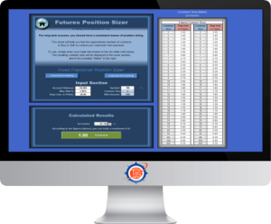 Image of the TJS Elite Position Sizer sheet (for Futures), as seen on a desktop monitor.