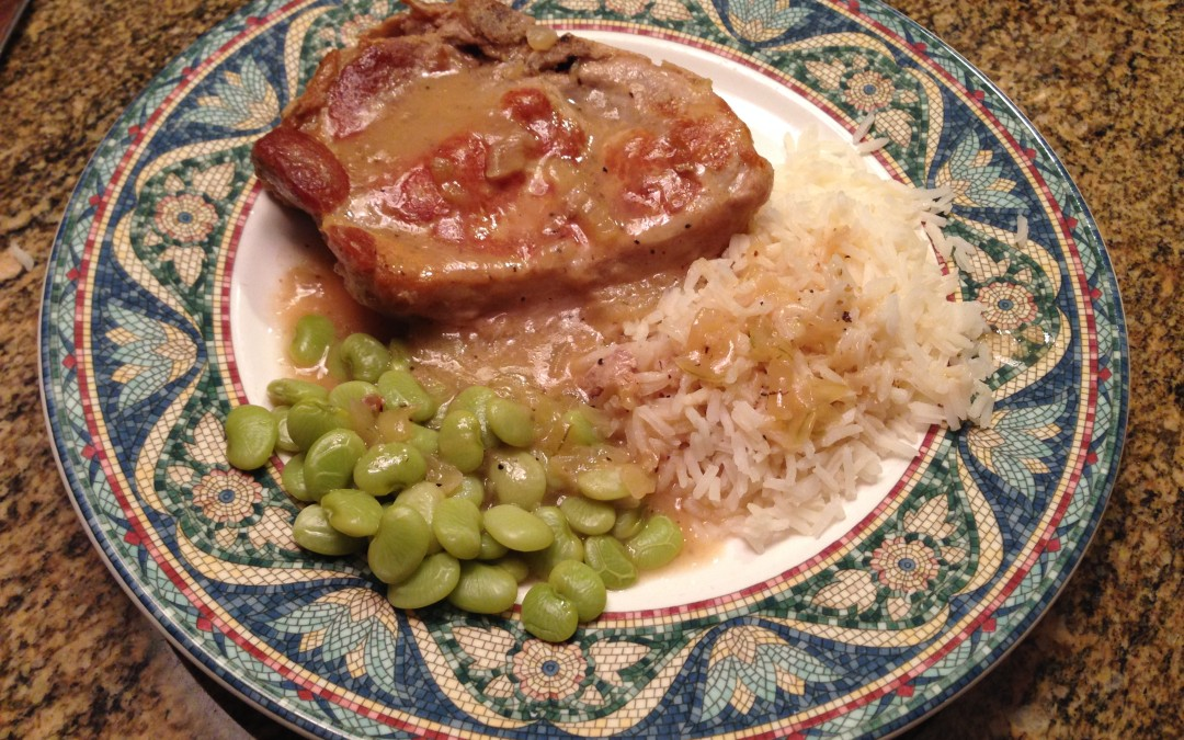 Southern Style Pork Chops with Lima Beans and Rice