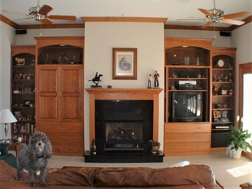 fireplace and bookcases by S&W Cabinets
