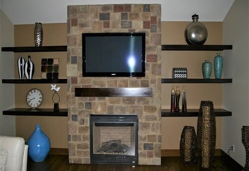 Mantle and book shelves by S&W Cabinets