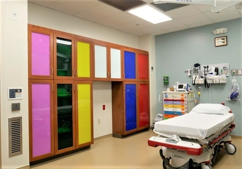 Mo Delta Medical Emergency Room with colorful cabinets