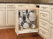 base cabinet pullout with stainless panel