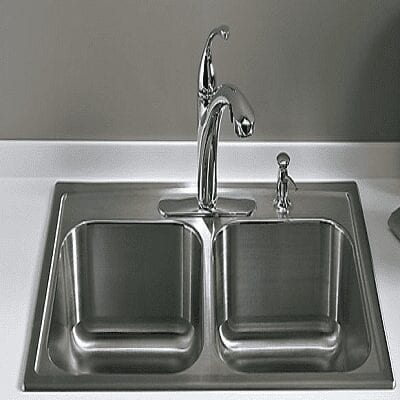 sink with faucet and soap dispenser