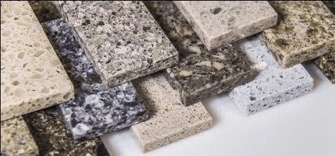 individual slabs of granite
