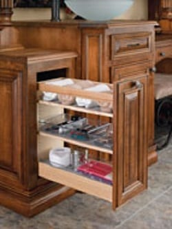 pullout bathroom organizer with adjustable shelves and bins