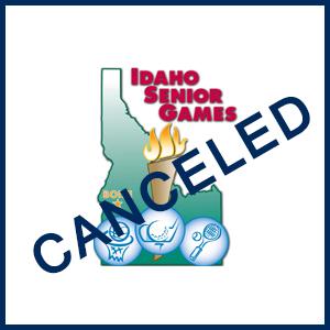"""The word """"Canceled"""" superimposed on the Idaho Senior Games logo"""
