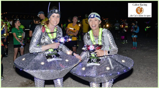 two women dressed in alien costume for ET Full Moon race