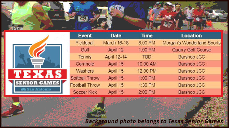 2021 Texas Senior Games spring schedule