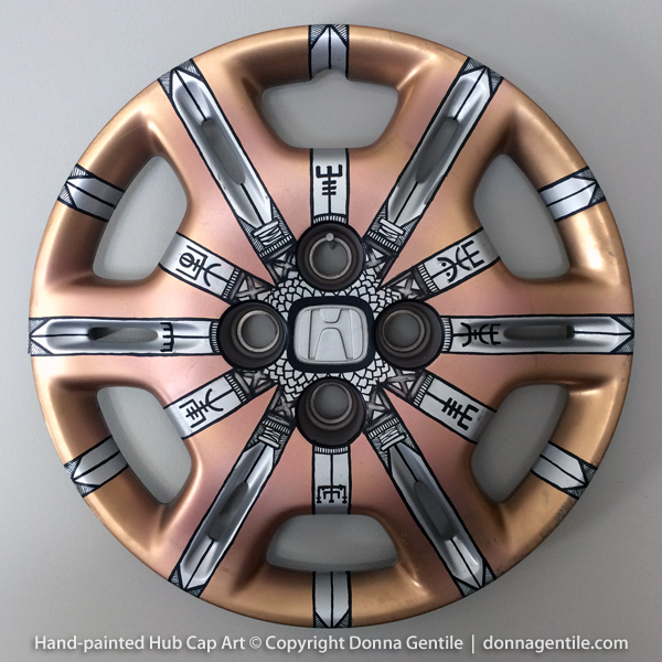 Viking Compass Painted Hubcap