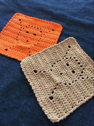 crochet skull and crossbones dishcloth
